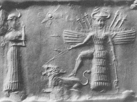 Ancient_Akkadian_Cylindrical_Seal_Depicting_Inanna_and_Ninshubur