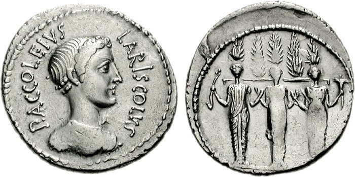 Coin depicting Diana as triple goddess holding 5 cypresses