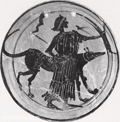 Diana or Hekate with hound and torches