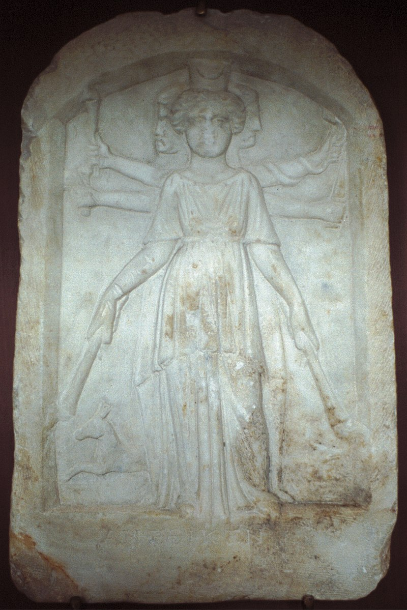 800px-Syncretistic_relief,_Artemis_as_a_triple_goddess,_100-300_AD,_Varm39